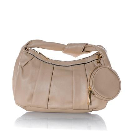 Bolsa Feminina com Mini Bag e Nó na Alça Nude
