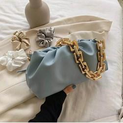 Bolsa Feminina Corrente Dourada Grossa Transversal Luxo Lançamento Blogueira Azul Claro