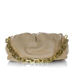 Bolsa Feminina Corrente Dourada Grossa Transversal Luxo Lançamento Blogueira Nude