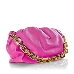 Bolsa Feminina Corrente Dourada Grossa Transversal Luxo Lançamento Blogueira Pink