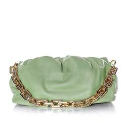 Bolsa Feminina Corrente Dourada Grossa Transversal Luxo Lançamento Blogueira Verde Agua