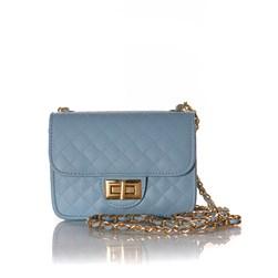 Bolsa Feminina Matelasse com Corrente e Fecho Azul Claro