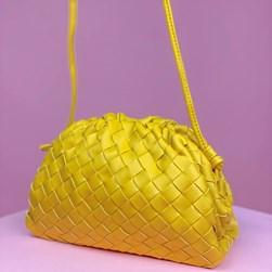 Bolsa Feminina Napa Trissê com Alça Amarelo