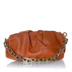 Bolsa Feminina Pequena com Corrente Grossa Dourada  Caramelo