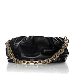 Bolsa Feminina Pequena com Corrente Grossa Dourada  Preto