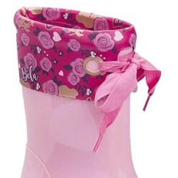 Bota Infantil Feminina Galocha Disney Com Laço Moda Menina Rosa