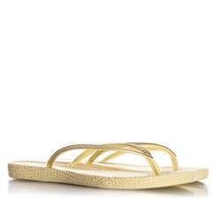 Chinelo Flat Lena Confort Texturizado Amarelo