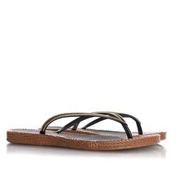 Chinelo Flat Lena Confort Texturizado Preto/Caramelo