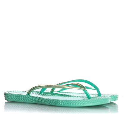 Chinelo Flat Lena Confort Texturizado Verde Agua