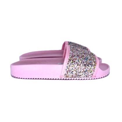 Chinelo Infantil Feminino Slide Glitter Moda Infantil Rosa