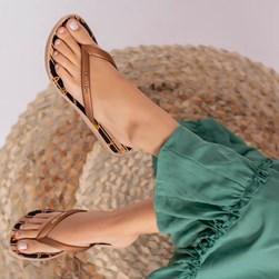 Chinelo Lais Flat Feminino Moda Verão Bronze