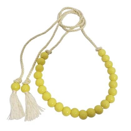 Cinto Feminino com Bolinhas e Cordinha de Amarrar Amarelo
