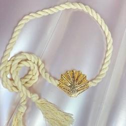 Cinto Feminino de Amarrar Corda com Fivela de Concha Branco