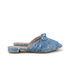 Mule Camurça com Laço e Bico Fino Jeans Claro
