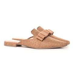 Mule Feminino Sapatos Fashion com Laço Confortável  Caramelo