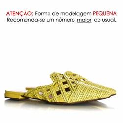 Mule Patricia Bico Fino em Palha Trançada Amarelo