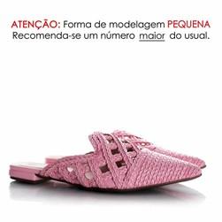 Mule Patricia Bico Fino em Palha Trançada Rosa
