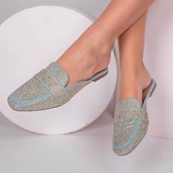 Mule Sapatilha Edilene Fashion com Strass Azul Claro