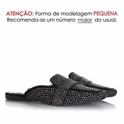 Mule Sapatilha Edilene Fashion com Strass Preto