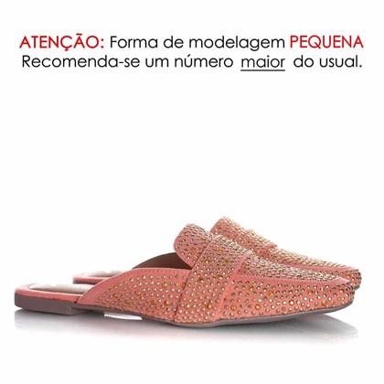 Mule Sapatilha Edilene Fashion com Strass Rosa