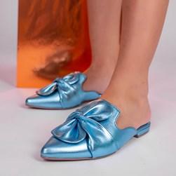 Mule Sapatilha Fashion Eunice com Bico Fino Azul Claro