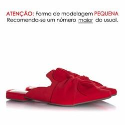 Mule Sapatilha Fashion Eunice com Bico Fino Vermelho