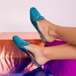 Mule Sapatilha Fashion Kelly em Matelassê Metalizado Azul