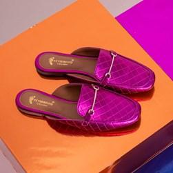 Mule Sapatilha Fashion Kelly em Matelassê Metalizado Pink