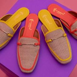 Mule Sapatilha Fashion Luciana com Fivela e Palha Amarelo