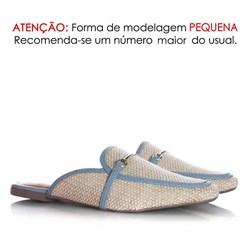 Mule Sapatilha Fashion Luciana com Fivela e Palha Azul Claro