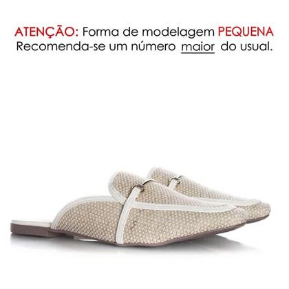 Mule Sapatilha Fashion Luciana com Fivela e Palha Branco