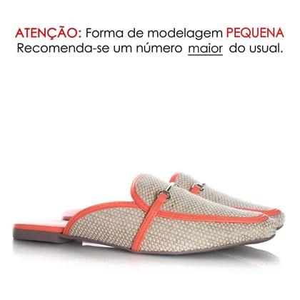 Mule Sapatilha Fashion Luciana com Fivela e Palha Coral