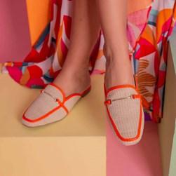 Mule Sapatilha Fashion Luciana com Fivela e Palha Laranja