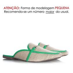 Mule Sapatilha Fashion Luciana com Fivela e Palha Verde