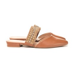 Mule Strass Luxe Caramelo