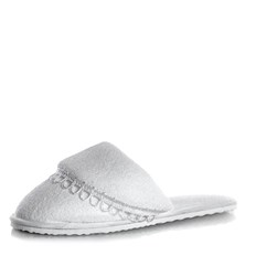 Pantufa Feminina Comfy Com Babado Branco