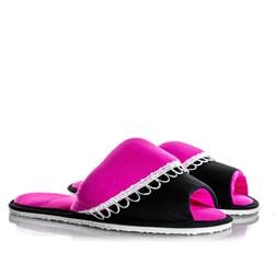 Pantufa Feminina Comfy Com Babado Preto/Pink