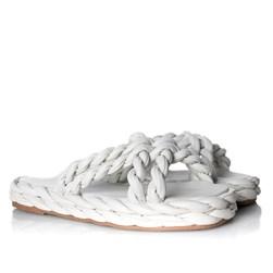 Rasteira Feminina Flatform Gleice Trissê Comfy Off White