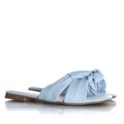 Rasteirinha Slide Julia Candy Color com Nó  Azul Claro