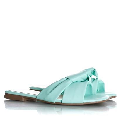 Rasteirinha Slide Julia Candy Color com Nó  Verde Agua