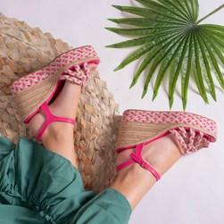 Sandalia Anabela Rosalina Salto Alto Trançado em Sisal Pink
