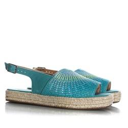 Sandália Avarca Feminina Valesca com Costuras Azul Claro