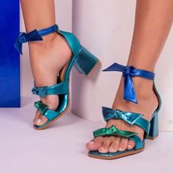 Sandália Clarisse com Laço e Salto Quadrado Azul