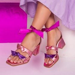 Sandália Clarisse com Laço e Salto Quadrado Rosa