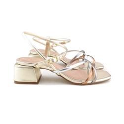 Sandalia Colors Salto Bloco Dourado