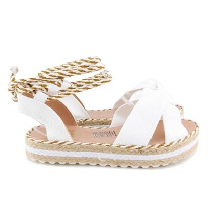 Sandália de Amarração Flatform Corda Branco