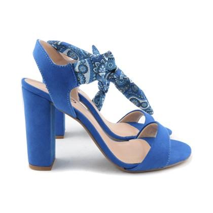 Sandalia De Amarrar Feminina Salto Alto Azul