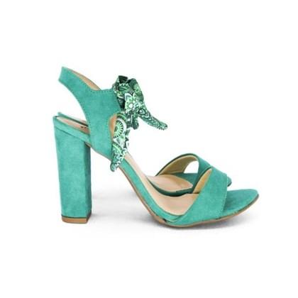 Sandalia De Amarrar Feminina Salto Alto Verde
