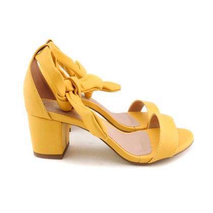 Sandália De Amarrar Feminina Salto Bloco Baixo Confortável Amarelo