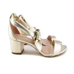 Sandália De Amarrar Feminina Salto Bloco Baixo Confortável Pink